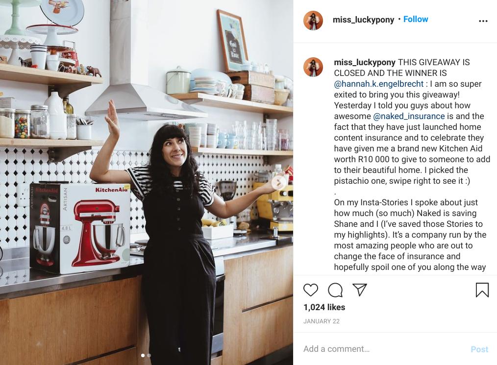 Angie Batis sponsored instagram giveaway