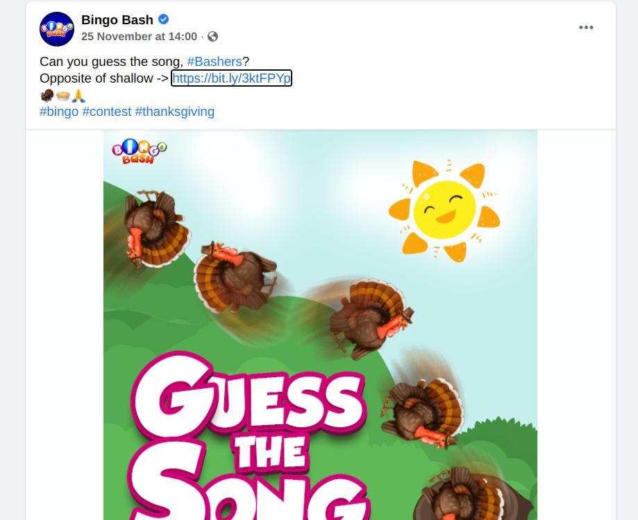 Bingo Bash Facebook giveaway