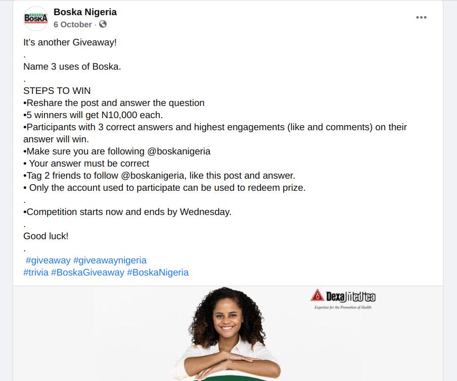 Boska Nigeria Facebook giveaway