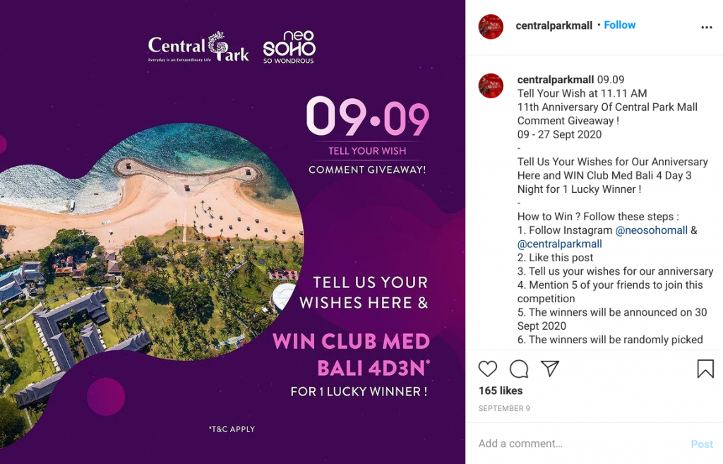 Central Park Mall Instagram giveaway