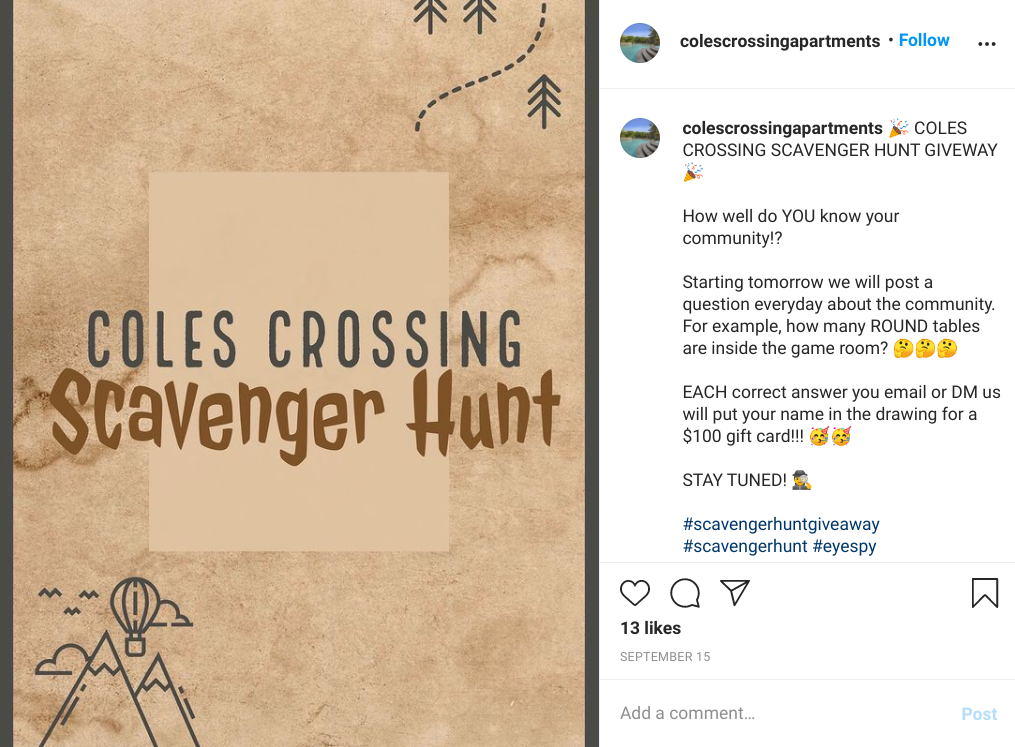 coles crossing apartments instagram scavenger hunt giveaway