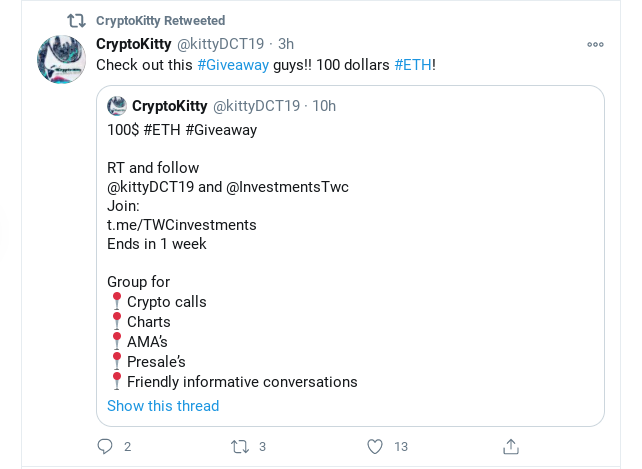CryptoKitty Twitter giveaway reminder