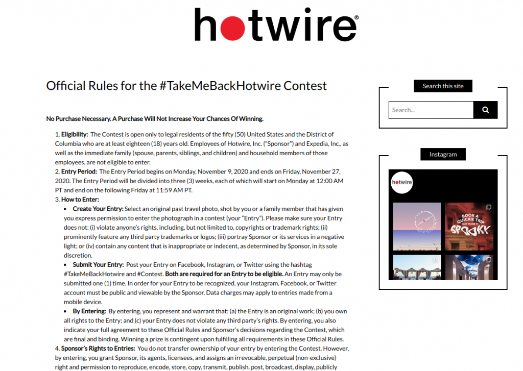 Hotwire's contest's terms and conditions page