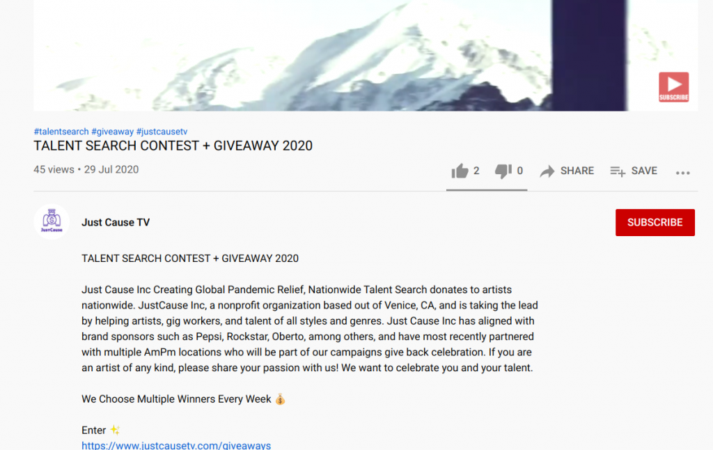 Just cause tv youtube giveaway