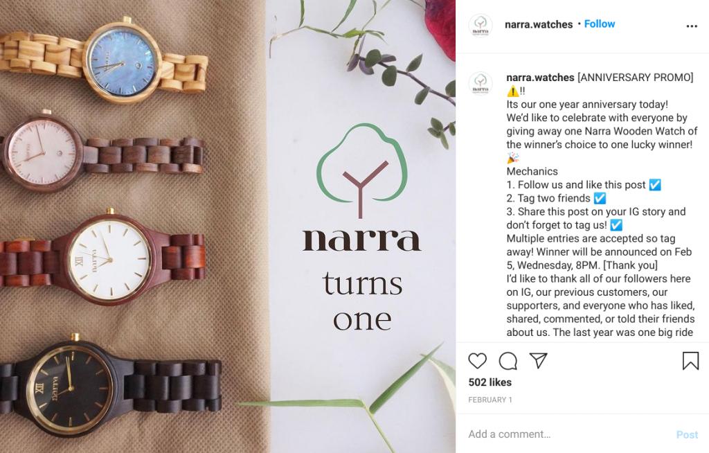 narra wooden watches instagram giveaway