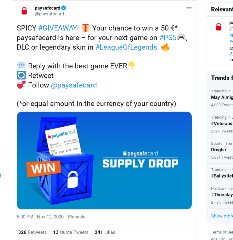 Paysafecard Twitter giveaway post