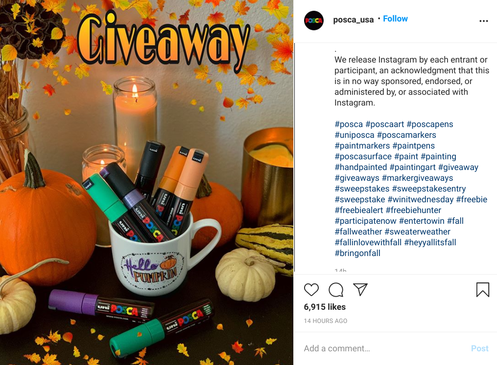 instagram giveaway hashtag example