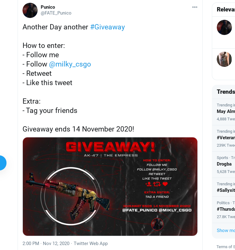 Twitter giveaway entry criteria from Punico