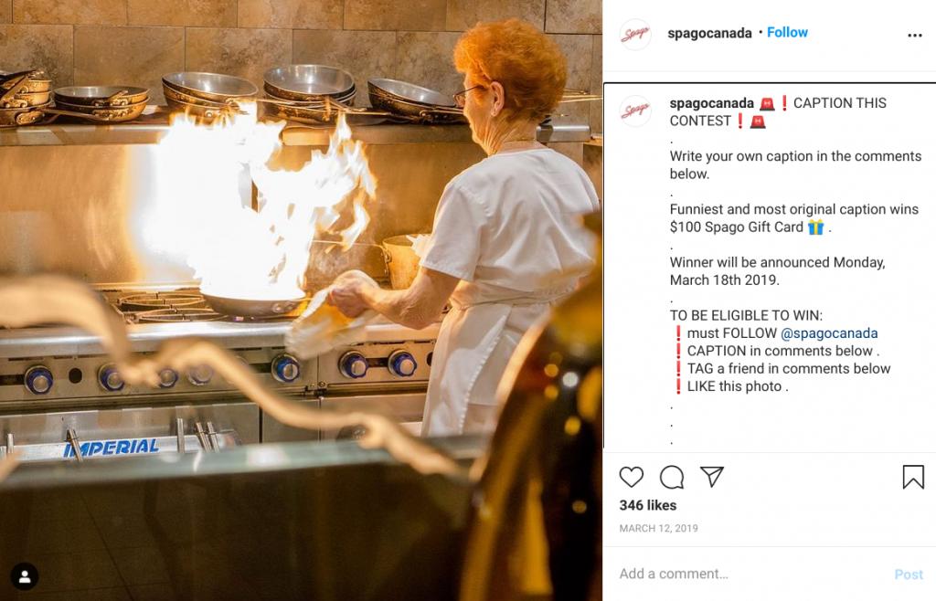 Spago Canada Instagram giveaway