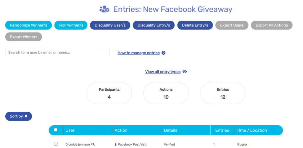 Sweepwidget Facebook giveaway entries
