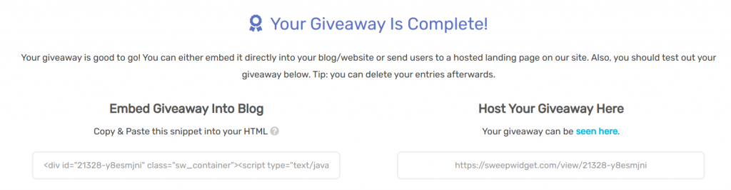 Sweepwidget host your giveaway