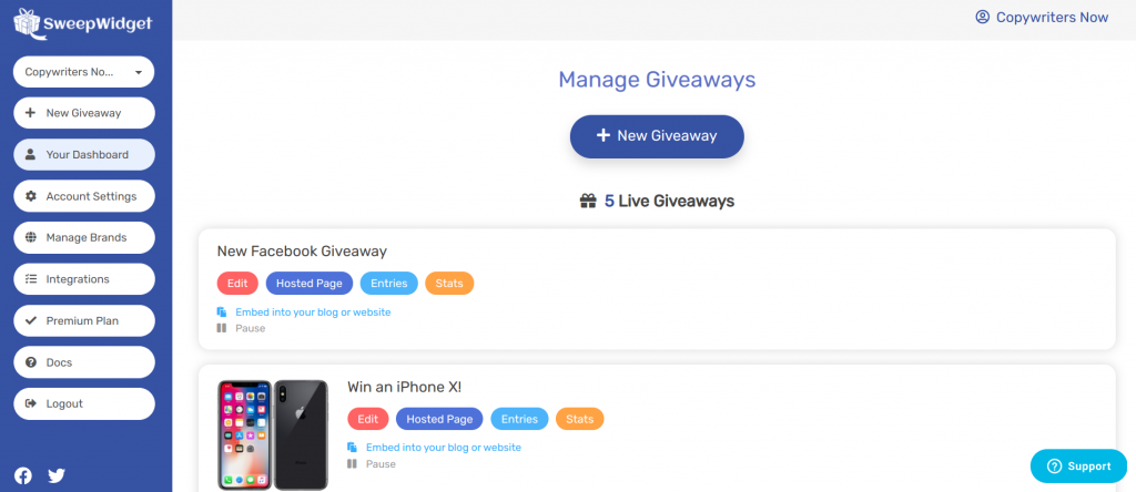 Sweepwidget giveaway dashboard