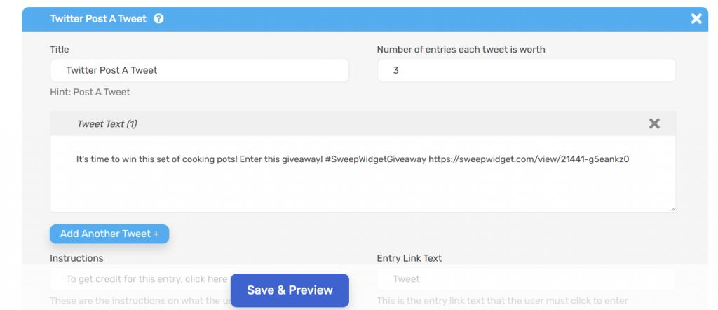Sweepwidget Twitter post a tweet entry option