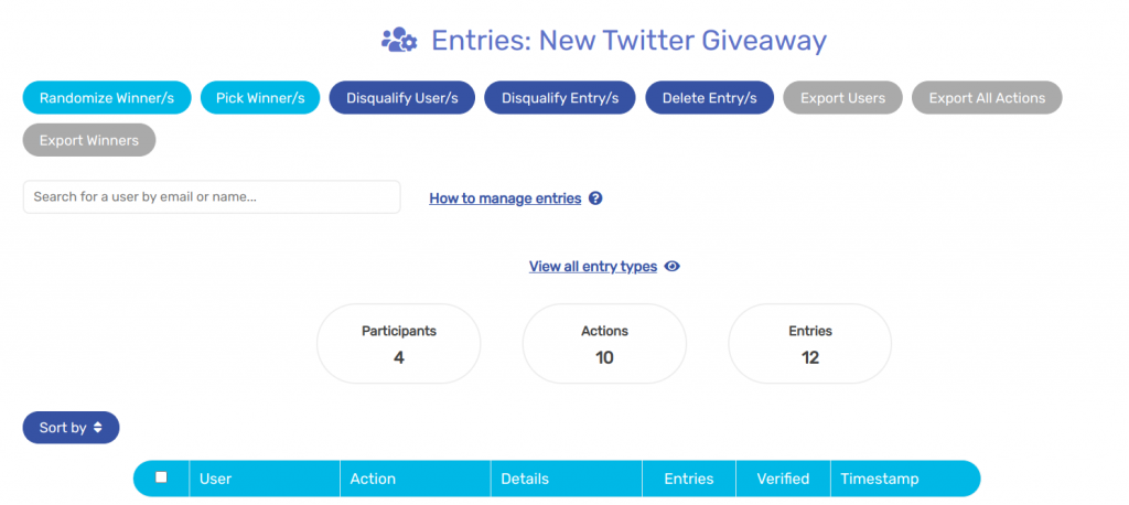 Sweepwidget Twitter giveaway entries page