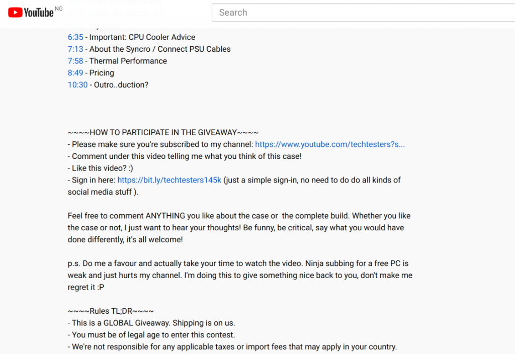 Tech testers youtube giveaway