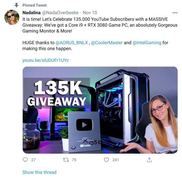 Tech Testers Twitter giveaway pinned tweet