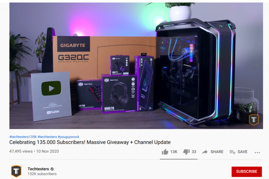 Tech Testers YouTube giveaway announcement