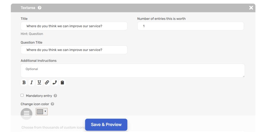 Text area custom input field on sweepwidget