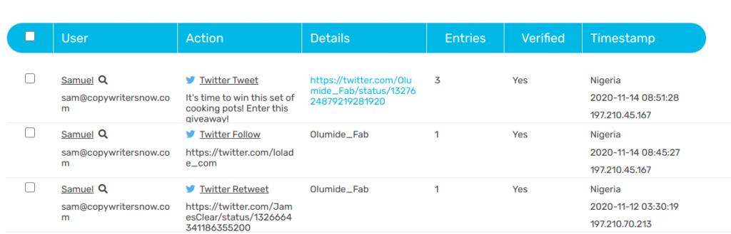 Sweepwidget Twitter giveaway entries