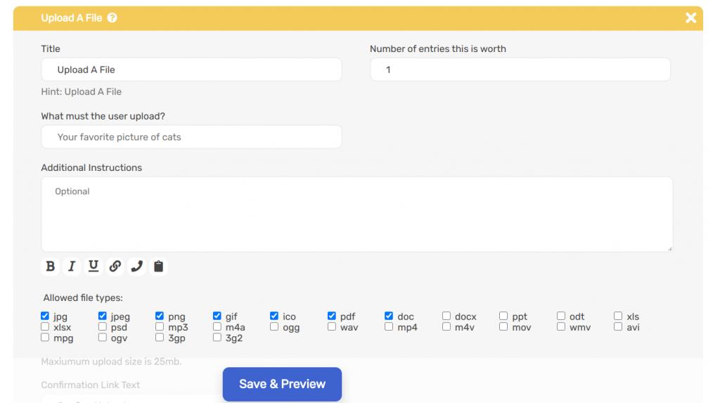 upload a file entry method on Sweepwidget