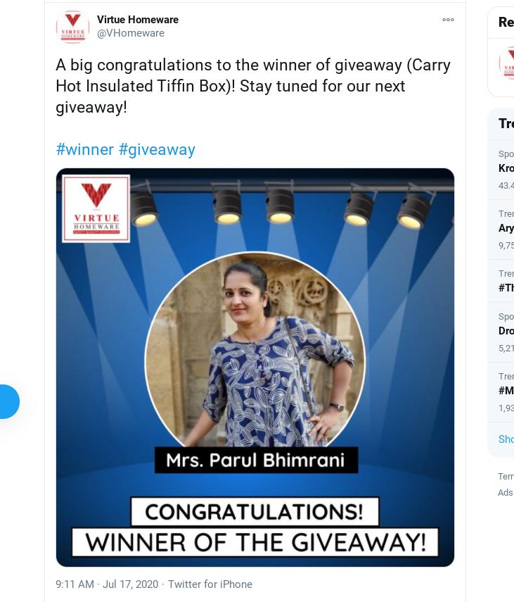Virtue Homeware Twitter giveaway winner announcement