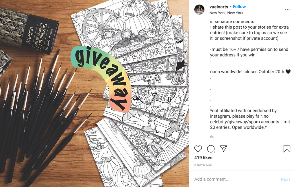 Release Instagram from giveaway