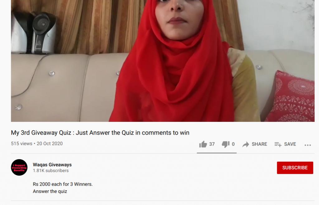 Waqas youtube giveaway