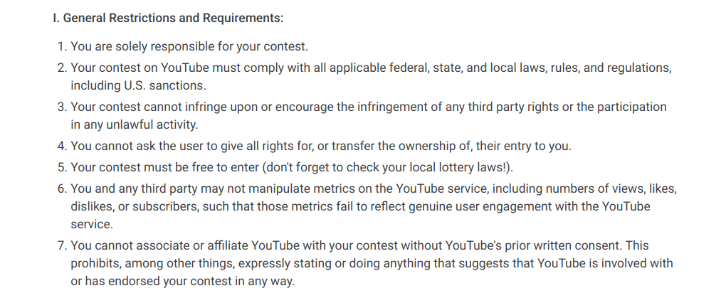 YouTube contest guidelines
