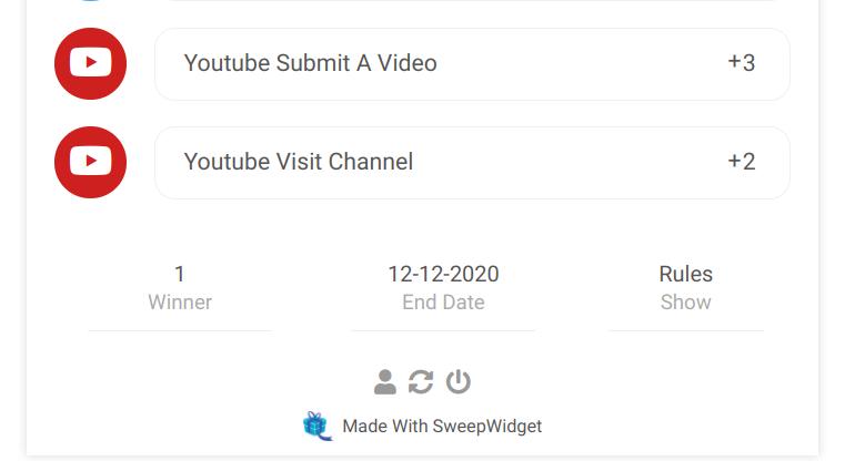 Sweepwidget YouTube giveaway entry options
