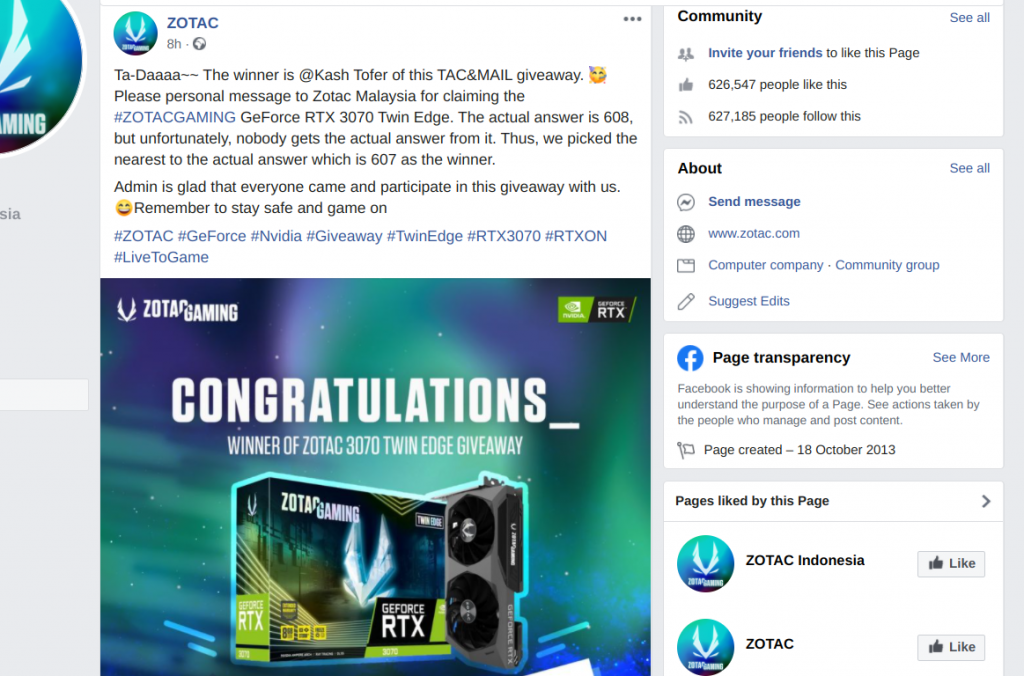 ZOTAC announcing Facebook giveaway winner