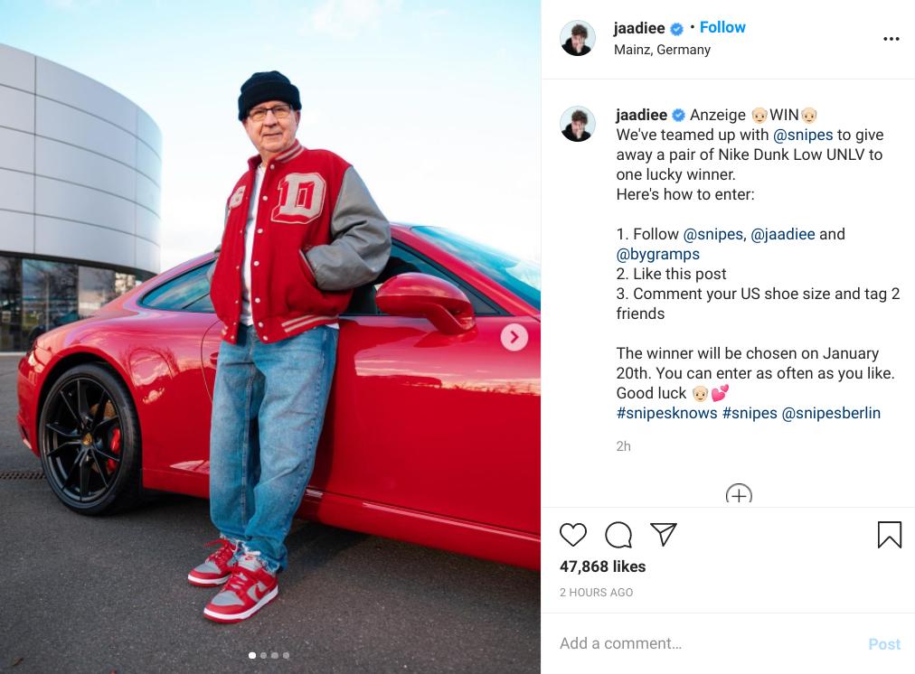 Jannik discloses sponsors in his Instagram giveaway