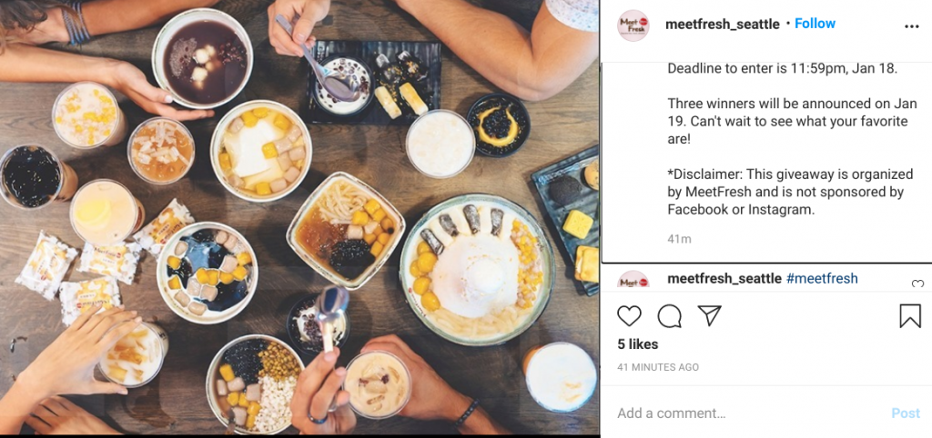 Meetfresh Instagram giveaway absolves Instagram of responsibility